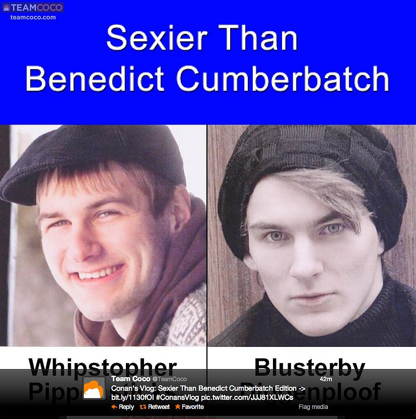 """Funnyman Conan O'Brien asks, """"Are these Brits sexier than Benedict Cumberbatch?"""""""