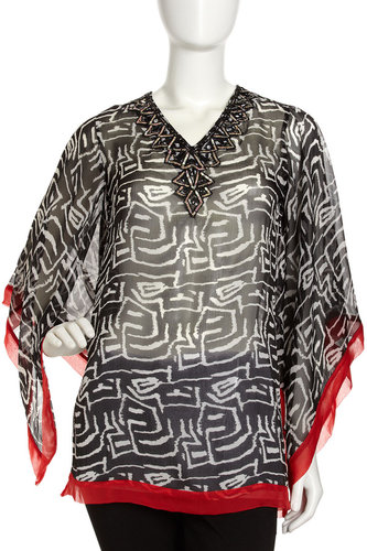 Alberto Makali Beaded Neck Print Tunic, Black/Red