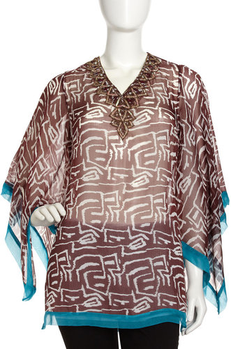Alberto Makali Beaded Neck Print Tunic, Brown/Turquoise