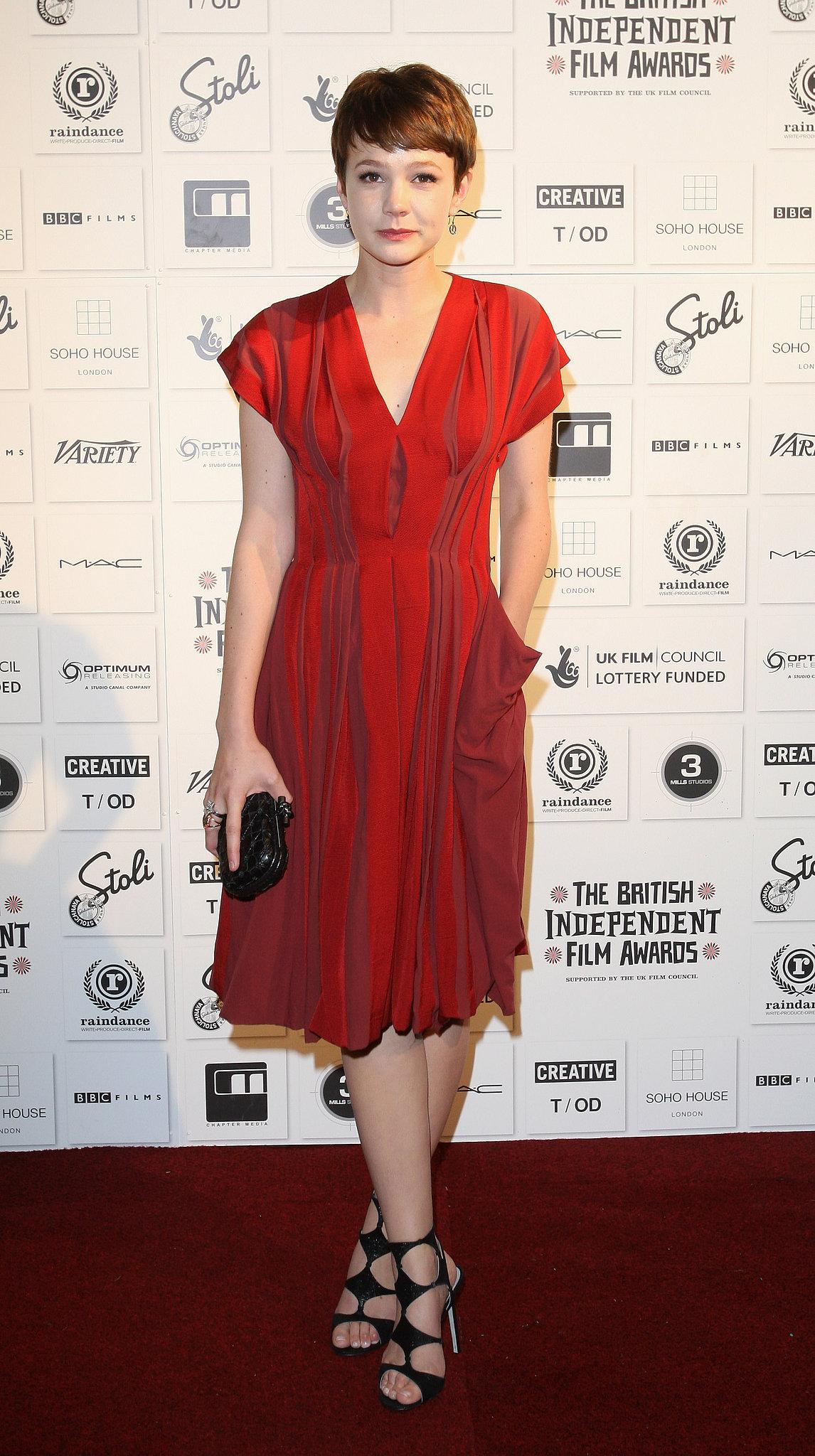 Carey Mulligan in Red Bottega Veneta at the 2009 British Independent Film Awards