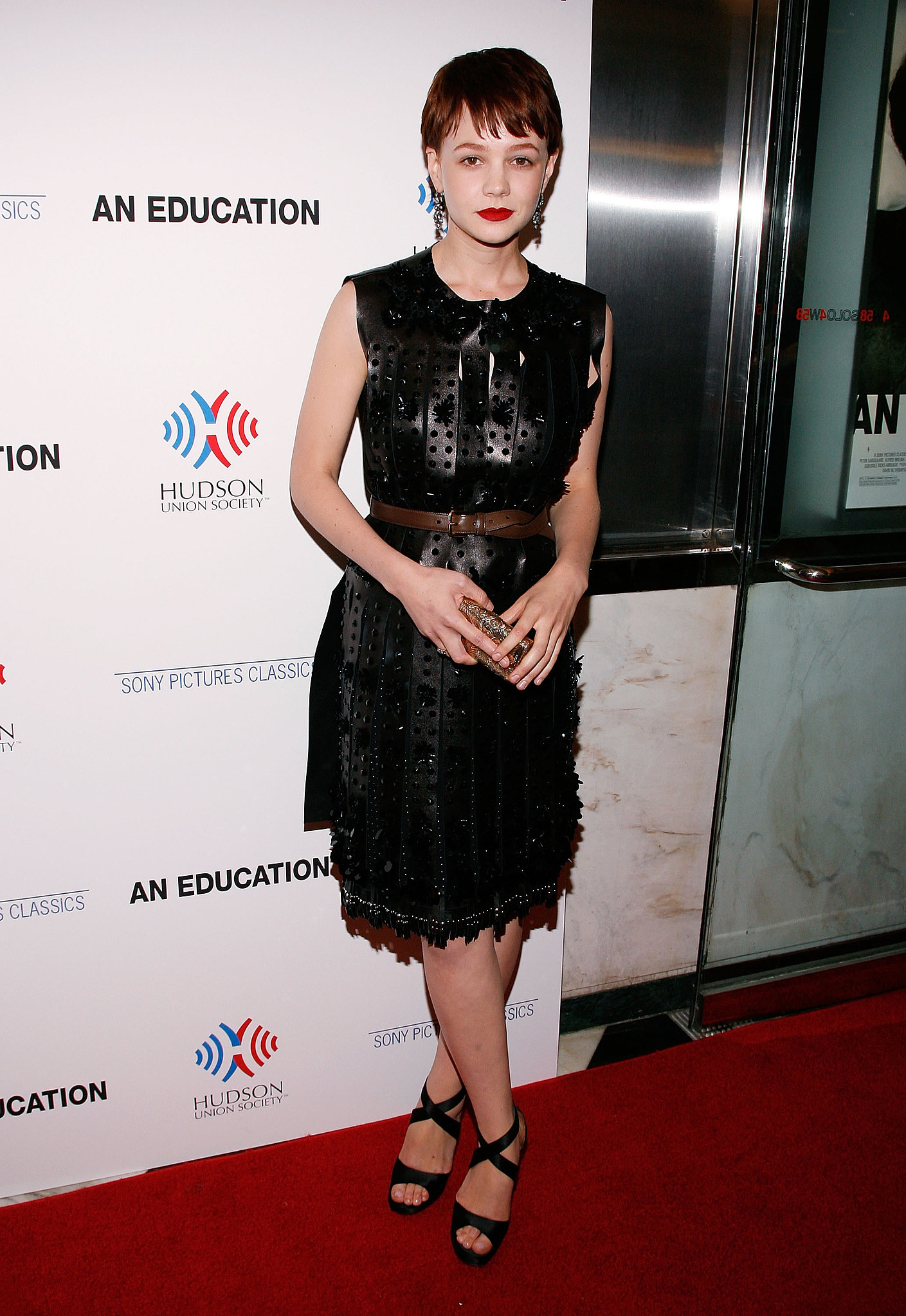Carey Mulligan in Leather Prada at the 2009 An Education NYC Premiere