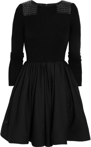 Alice + Olivia Aemilia leather-paneled studded wool dress