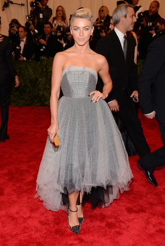 Julianne Hough tapped into her dark side in a strapless Topshop high-low dress and studded ankle-strap pumps.