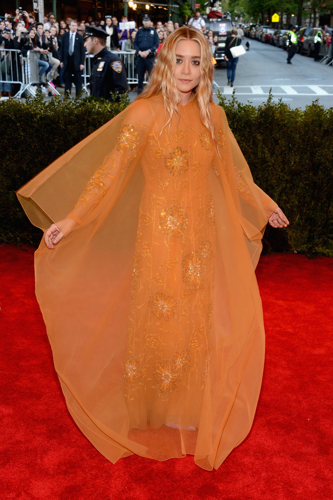 The floaty orange dress Ashley Olsen wore to the Met Gala in 2013 was a vintage Christian Dior Couture gown.