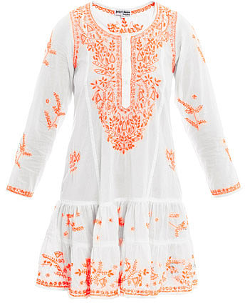 Juliet Dunn Neon embroidered long sleeve beach dress