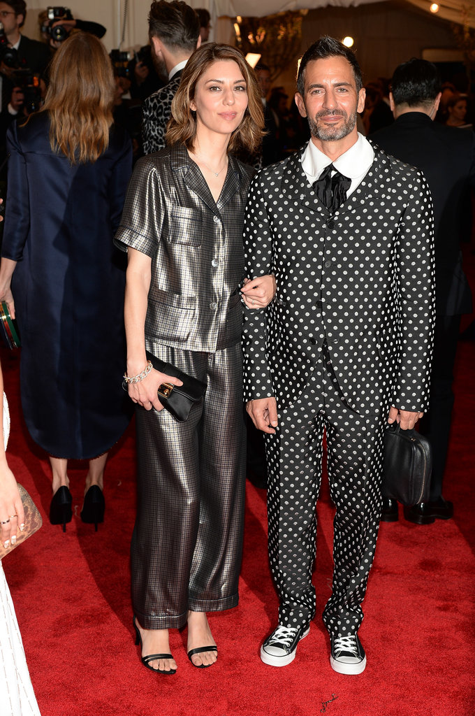 Sofia Coppola sported silky Marc Jacobs pajamas and a Pomellato bracelet, while Marc Jacobs rocked a polka-dot Comme des Garcons suit with Converse sneakers.