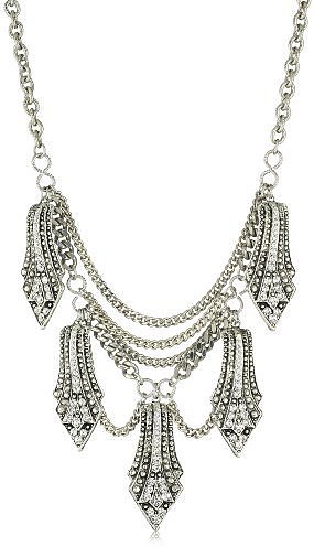 Yochi Clear Crystal Overlay Shape Necklace