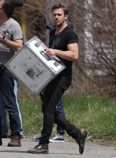 Ryan Gosling carried equipment on set.