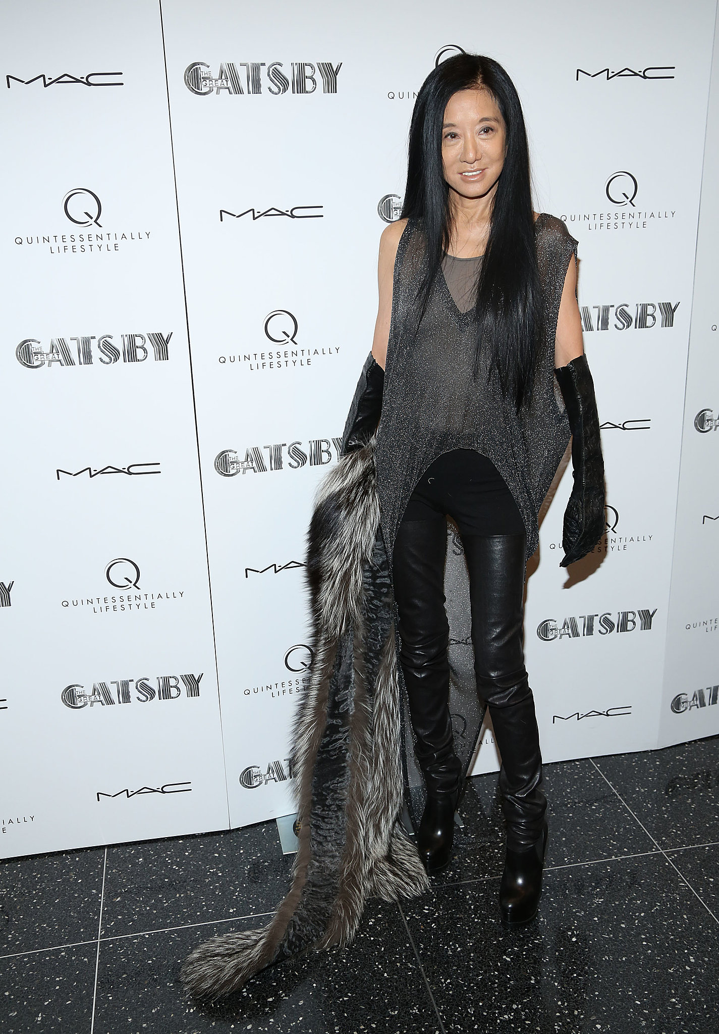 Vera Wang stepped out in a combination of subtle sparkles, dramatic leather boots and gloves, and luxe furry finishes.