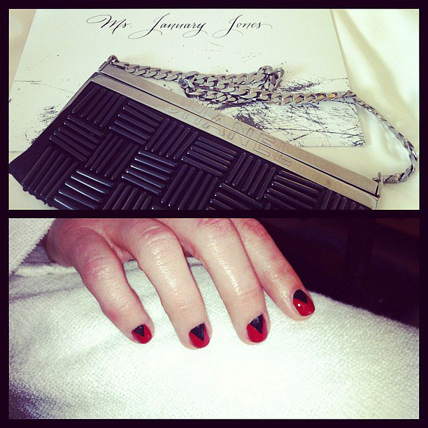 A sneak peek at January Jones's black-and-red punk rock manicure for the Met Gala. Source: Instagram user ashile_johnson