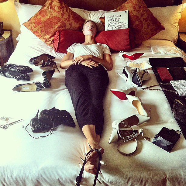 What a life! Karolina Kurkova blissed out a bit before getting ready for the big event. Source: Instagram user karolinakurkova