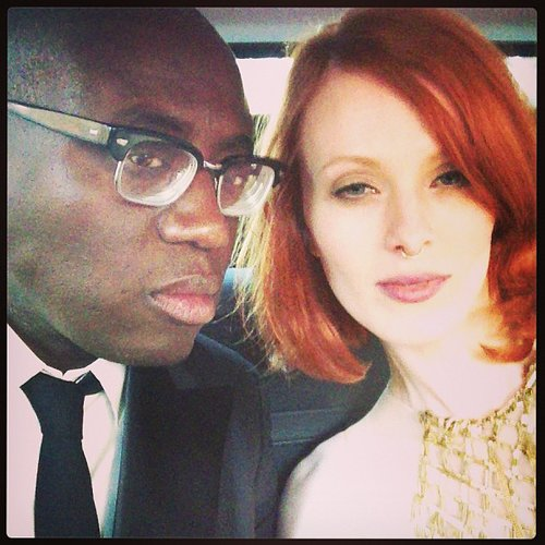 Karen Elson hitched a ride with Edward Enninful. Source: Instagram user misskarenelson