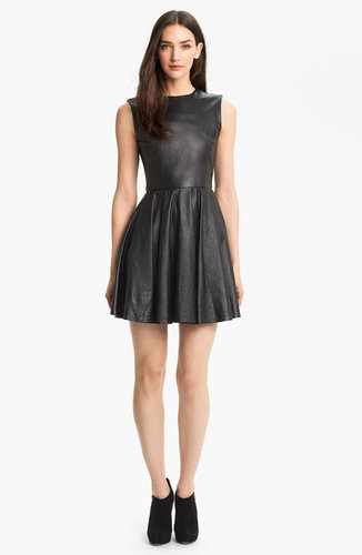 Diane von Furstenberg 'Jeannie' Leather Fit & Flare Dress
