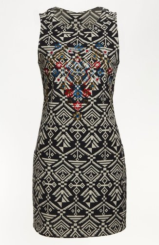 ASTR Tribal Print Body-Con Dress
