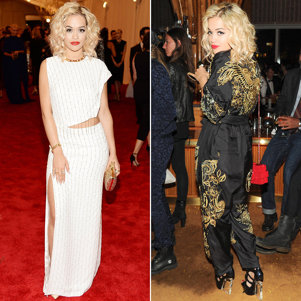 Rita Ora chose a fresh white cutout Thakoon gown for the main event, then spiced things up with something altogether different later in the evening. Her Emilio Pucci Spring '13 gold-embroidered jumpsuit certainly fit the bill of afterparty couture.