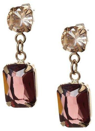 Purple emerald drop earring