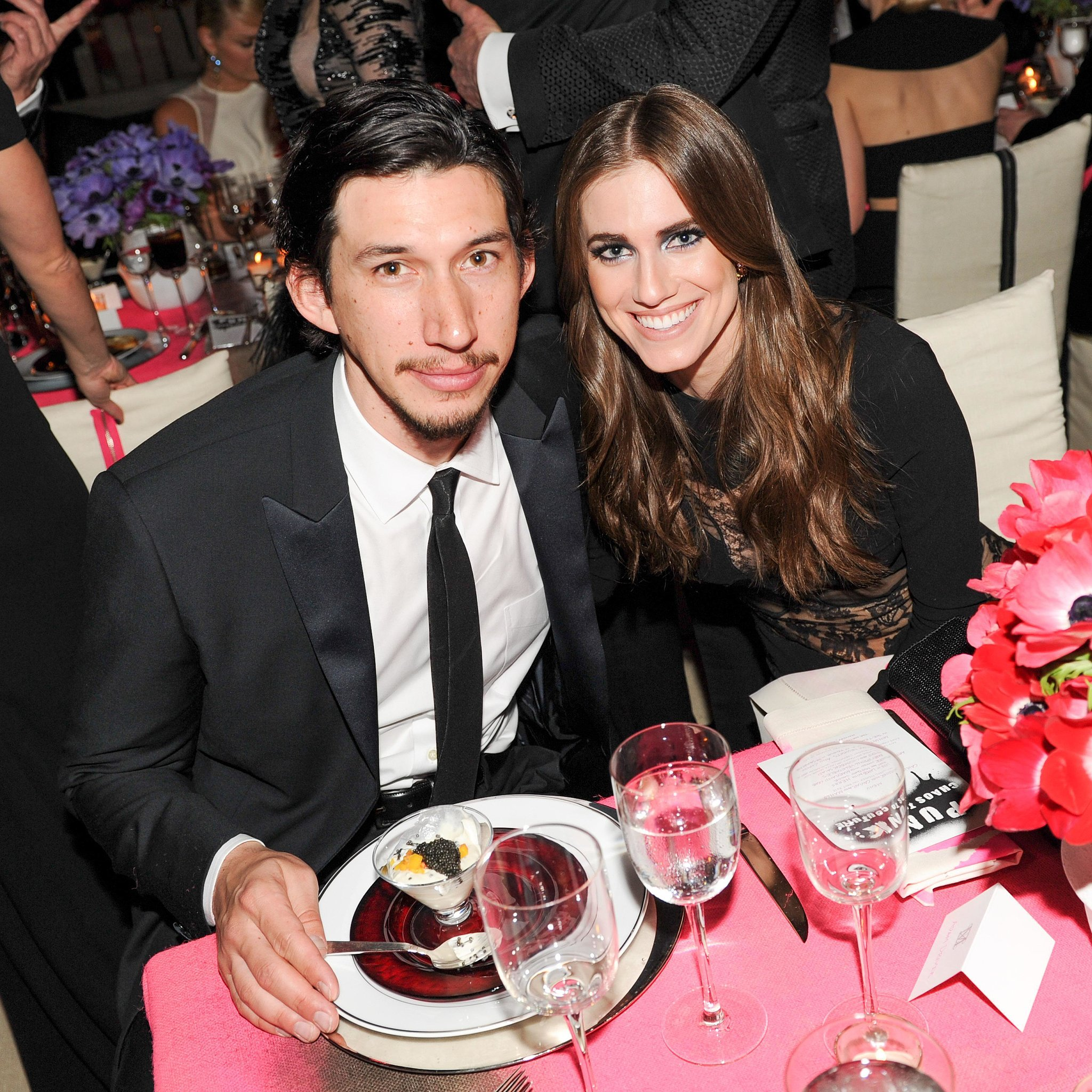 Allison Williams and Adam Driver had a Girls reunion inside the Met Gala. Source: Billy Farrell/BFANYC.com