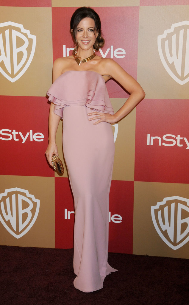 If you want your bridesmaids to look every bit the feminine style-setter, then mimic Kate Beckinsale's pale pink strapless ruffled Gucci gown, which she showed off at the Warner Bros. Golden Globes after-party.