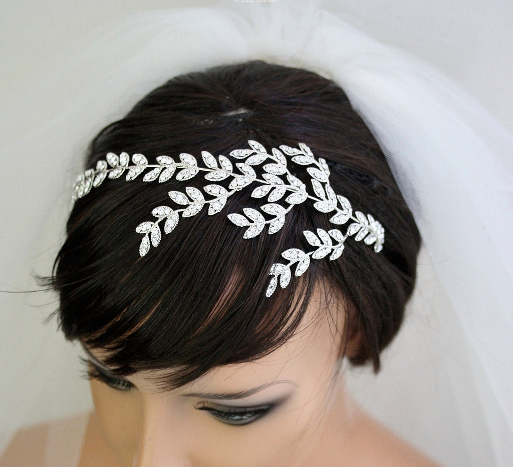 This rhinestone crystal leaves tiara ($165) has the making of a fairy-tale wedding.