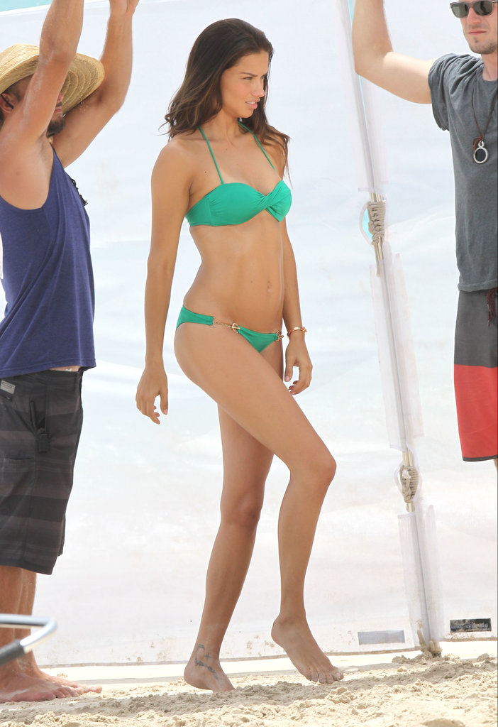 Adriana Lima worked it at a St. Barts photo shoot for Victoria's Secret.