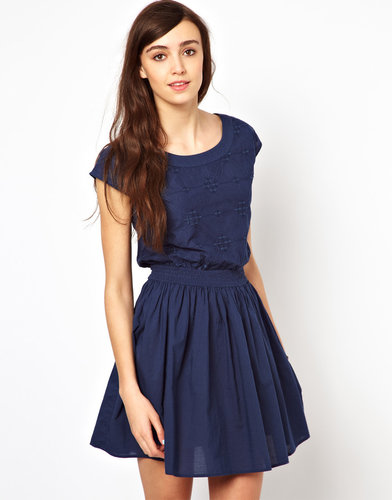 Warehouse Totem Embroidered Skater Dress