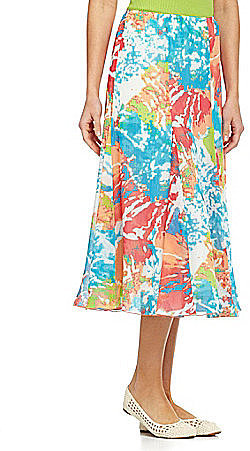 Ruby Rd. Flower-Print A-Line Skirt