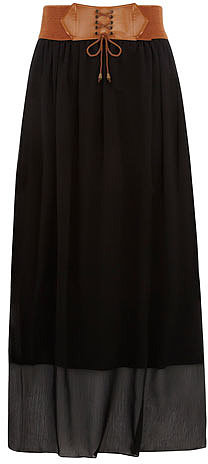 Black belted boho maxi skirt