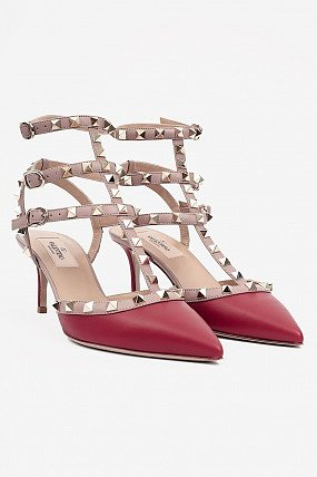 Valentino Rock Studded Ankle Strap Heels Red