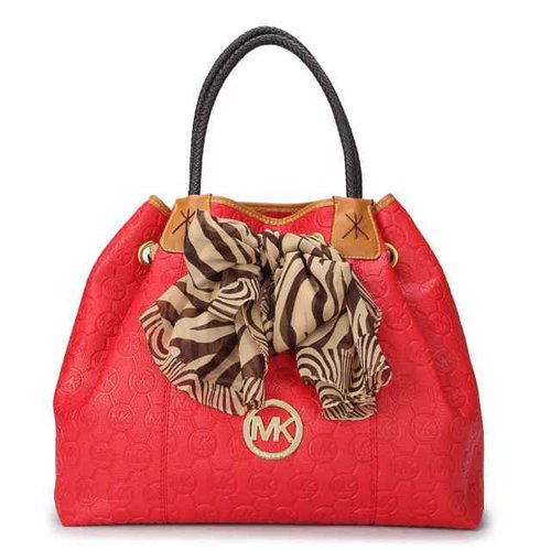 Luxury Michael Kors Cinched Top & Silk Scarf Shoulder Bag Red