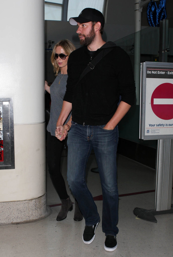 John Krasinski and Emily Blunt Return to LA to End His Office Run
