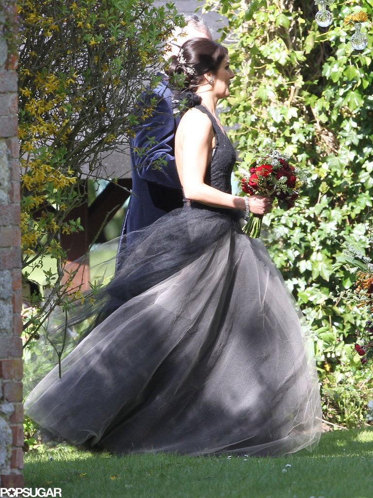 Shenae Grimes walked down the aisle in a black Vera Wang gown.