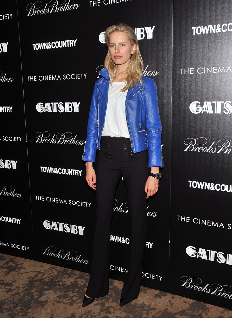 Karolina Kurkova gave us the cool-girl interpretation of eventwear in a blue lather jacket and trousers at an NYC screening of The Great Gatsby.