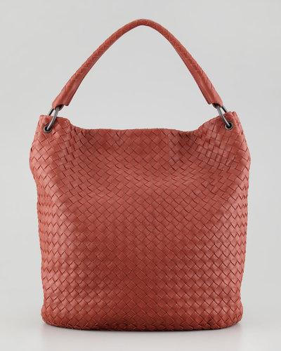 Bottega Veneta Veneta Woven Bucket Bag, Dark Red