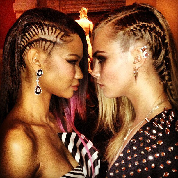 Chanel Iman and Cara Delevingne compared their braids at the Met Gala. Source: Instagram user caradelevingne