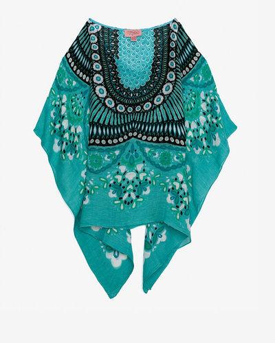Theodora & Callum Theodora & Callum Floral Print Scarf Caftan: Turquoise
