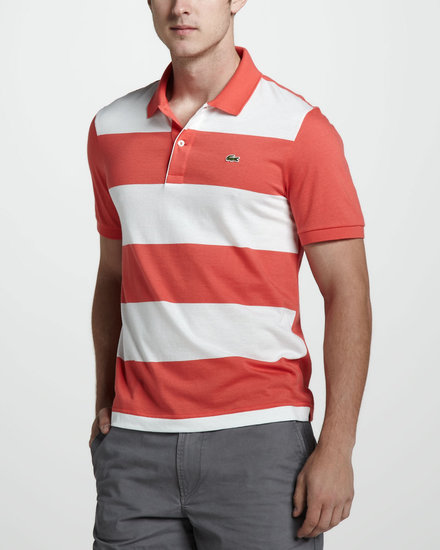 Lacoste Stripe-Front Jersey Polo, Orange/White