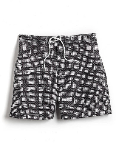 BLACK BROWN 1826 Checked Swim Trunks