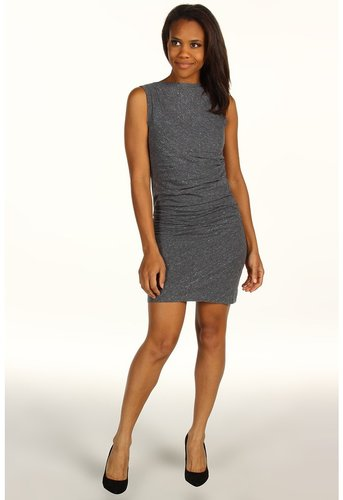 Calvin Klein Jeans - Knit Side Rouched Dress (Charcoal Heather) - Apparel