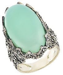 19 2/3 Carat Green Chalcedony & Marcasite Sterling Silver Ring