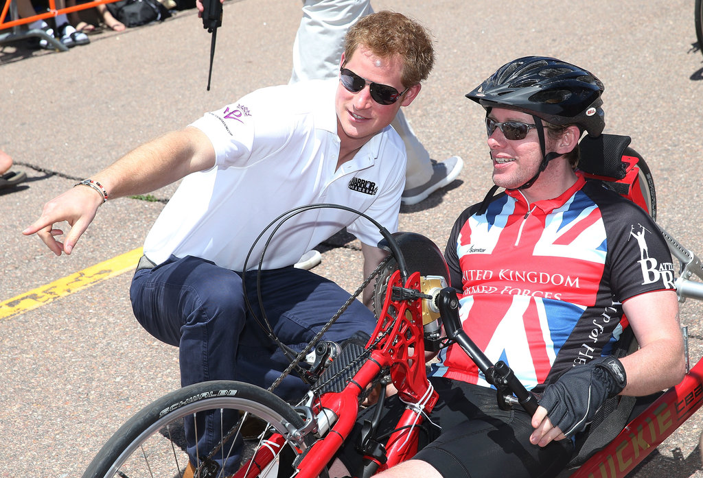 Prince Harry talked to a cyclist in the Warrior Games.