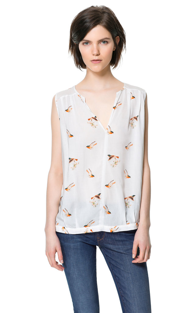 Zara's Bird-Print Blouse ($40) is the epitome of sweet and feminine.