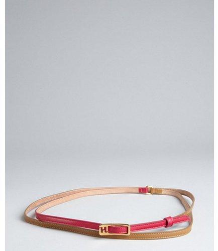 Fendi camel and fuchsia leather wrap belt