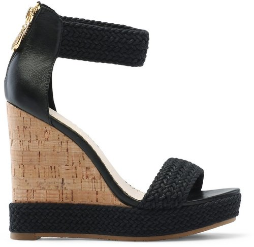 Strappy Woven Cork Wedge Sandal