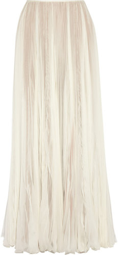 Rochas Pleated silk-chiffon maxi skirt