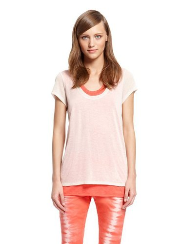 DKNY Jeans Sheer Double Layer Short Sleeve Top