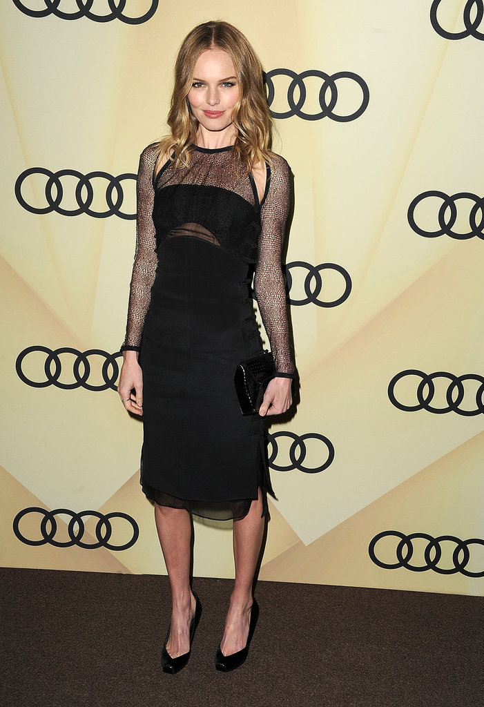 Kate Bosworth was monochrome perfection in an Emilio Pucci black dress, detailed with sexy sheer overlays and shoulder cut-outs, at the Audi Golden Globe kickoff party in LA.