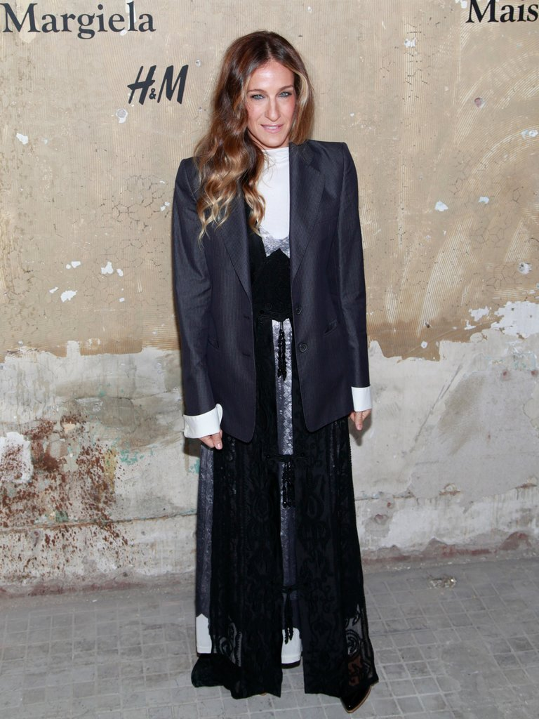 SJP showed her love for Maison Martin Margiela's H&M collaboration donning a sparkling maxi and oversize blazer at the launch party in October 2012.