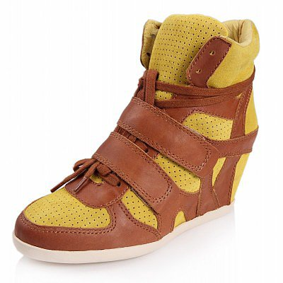 ASH BEA WEDGE SNEAKER LEMON SUEDE/NATURAL LEATHER 330004