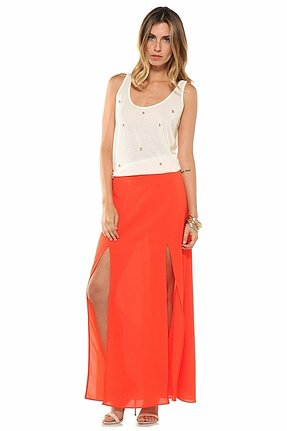Lovers + Friends One & Only Maxi Skirt in Tangerine