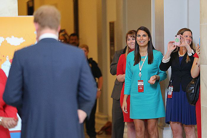 These lucky ladies got close to Prince Harry as he visited an anti-landmine exhibit in DC.